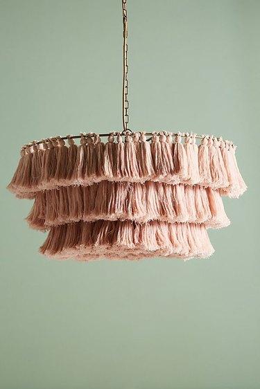 blush tasseled chandelier