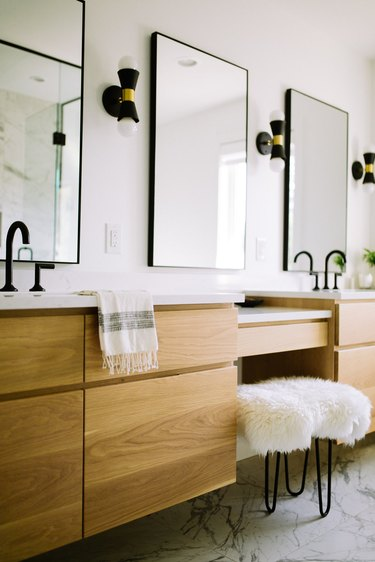 double vanity and quartz bathroom countertop and wood cabinet