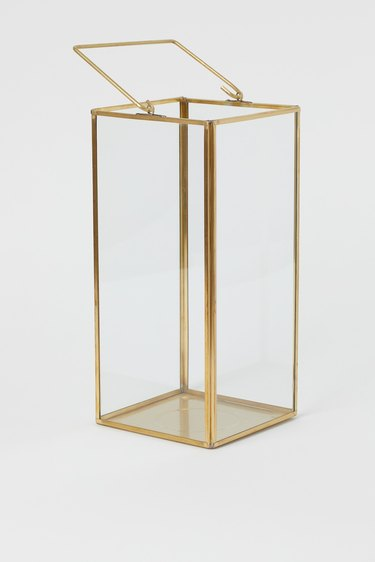 gold-trim glass box candle holder