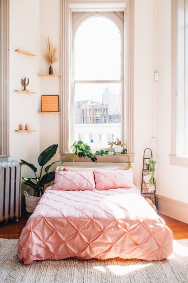 pink duvet cover and pillow shams in blush bedroom