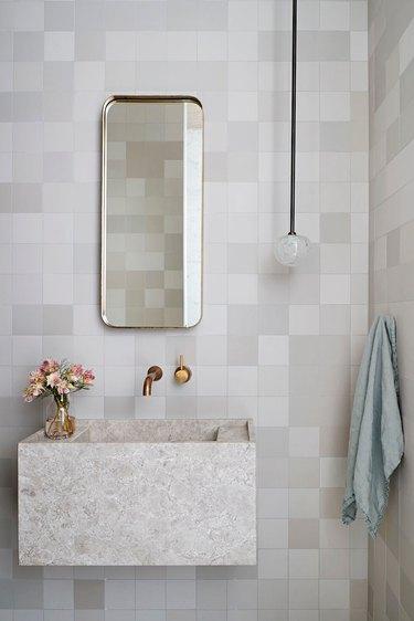 chunky integrated wall-mounted bathroom sink