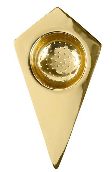 brass geometric tea strainer