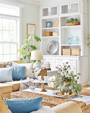 bright living room with coastal fall decor