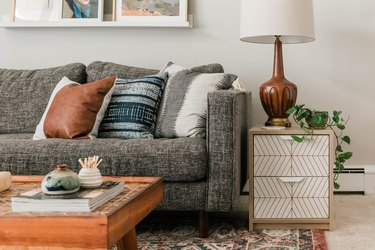 Gray room ideas with couch and living room decor by Carrie Waller