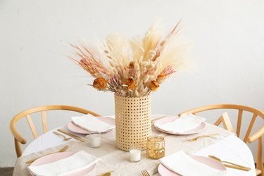 thanksgiving centerpieces with Cane webbing vase DIY with dried flowers