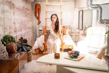 Liz Sparacio in her bedroom