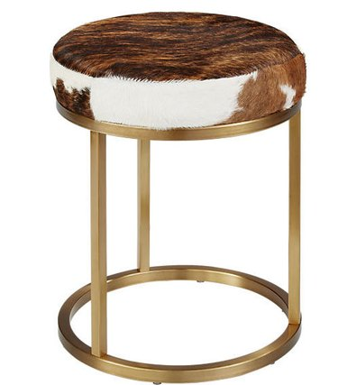 brass accent stool with cowhide seat