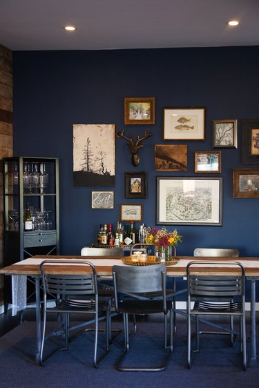 industrial navy dining room