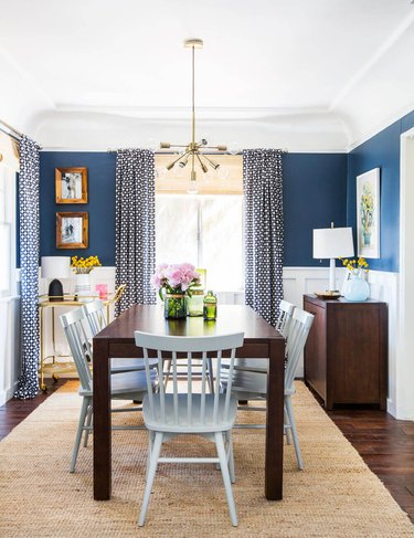 blue and white sunny dining room