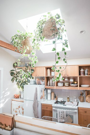 small-space kitchen with wood cabinets and hanging plants