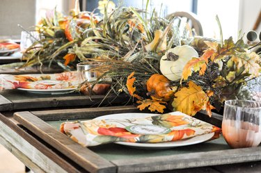 Fall decor Thanksgiving centerpieces on table by Clover Lane