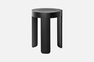 wooden accent stool in black