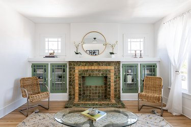 Green Room Ideas with Dusty green trim in the living room