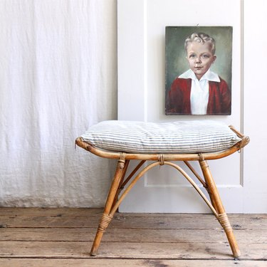 vintage bamboo stool with cushion
