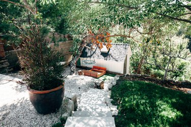 A sloped backyard with concrete steps, stone landscape edging, a large black pot with an evergreen tree