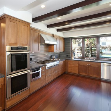 kitchen space with bamboo flooring