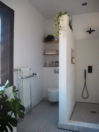 bohemian bathroom with walk-in shower