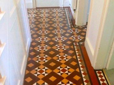 Linoleum floor in hallway.