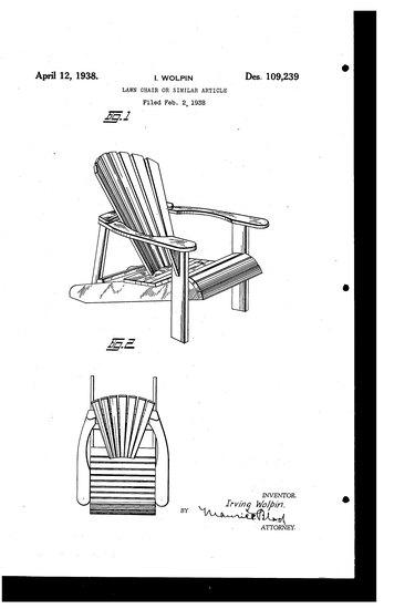 1938 Adirondack chair patent