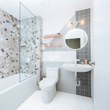 terrazzo bathroom with powder white bathroom fittings