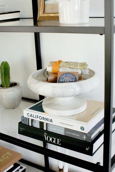 Close up of bookshelf vignette