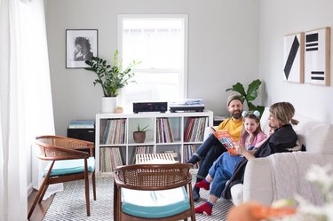 small white family room ideas with records