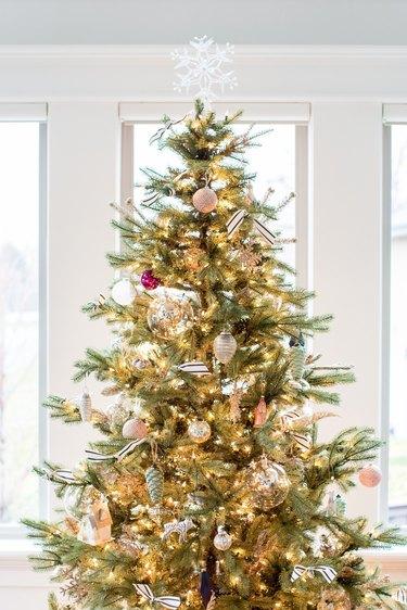 Rustic black and white Christmas tree ribbon