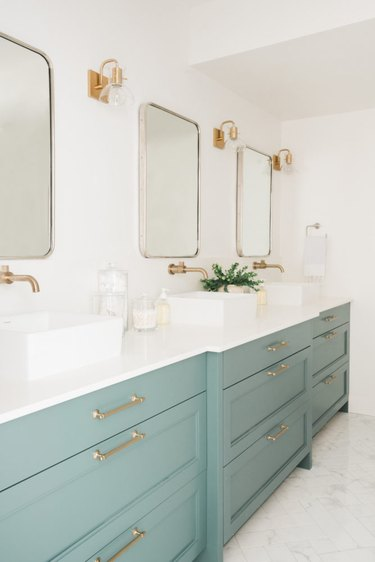 mint green bathroom cabinets