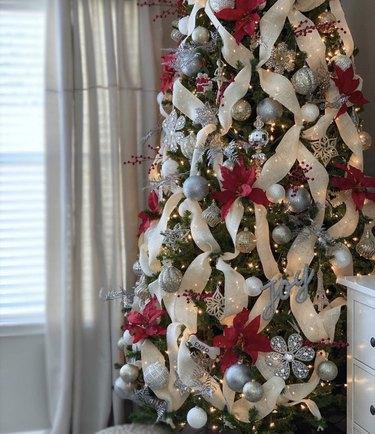 White criss-cross Christmas tree ribbon