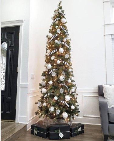 Black and white Christmas tree ribbon