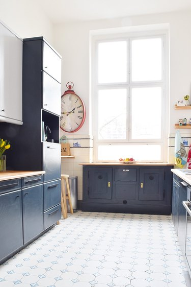 laminate kitchen cabinets with blue cabinets and wood countertops