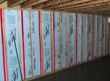 An insulated basement wall.