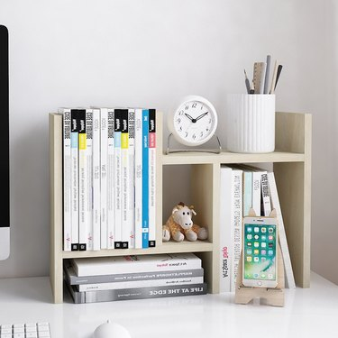 Wood Desktop Organizer Adjustable Storage Rack Double H Style Display Shelf, $23.99