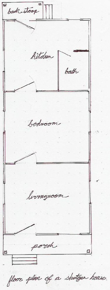 Traditional shotgun house floor plan