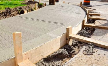 Forming a concrete walkway.