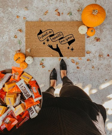 I Put a Spell on You fall doormat with pumpkins and Halloween candy