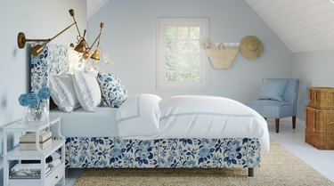 bedroom with a blue-and-white chintz bed