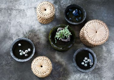 woven side tables and planters