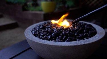 Tabletop concrete fire pit bowl