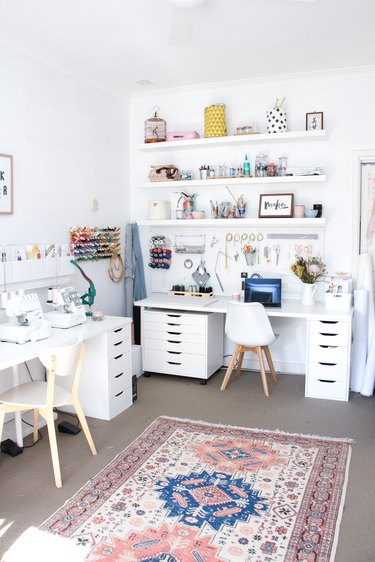 white home office with lots of storage with Home Office Storage Ideas