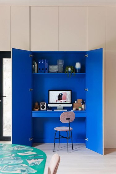 blue office hidden in kitchen cupboards with Home Office Storage Ideas