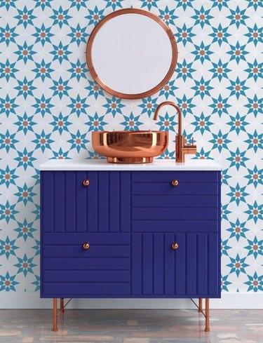 Moroccan-inspired diy bathroom backsplash idea with peel and stick wallpaper