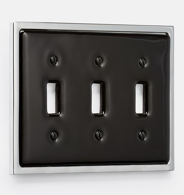 black and chrome light switch plate
