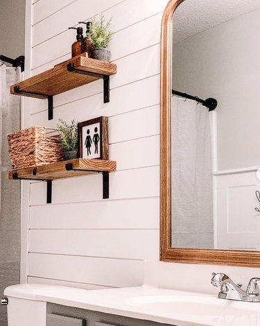 diy bathroom backsplash idea in farmhouse style with white shiplap