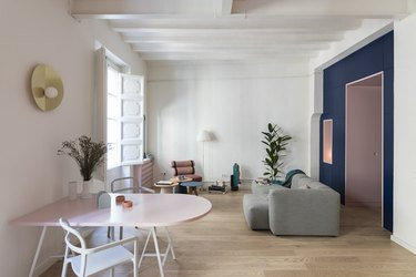 blue and pink modern living room