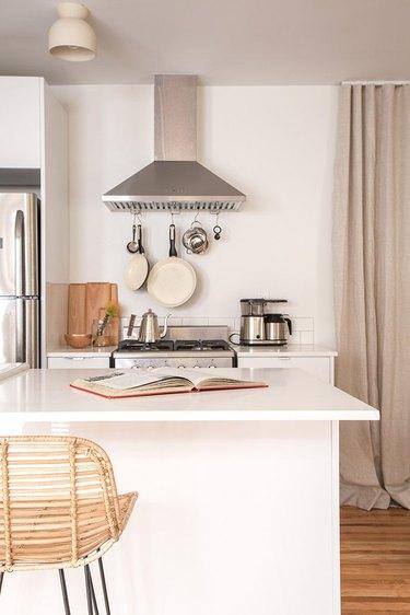 Kitchen essentials displayed in minimalist kitchen