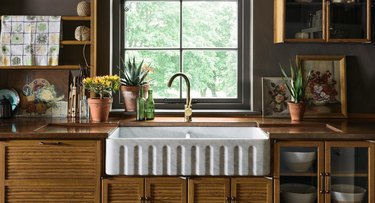 Dark wood kitchen countertop with vintage accents