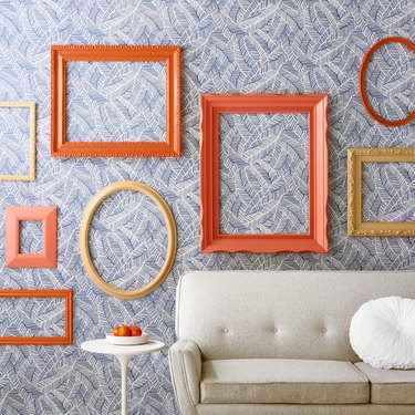 orange frames in a living room space