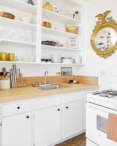 Plywood wood kitchen countertop in  modern kitchen