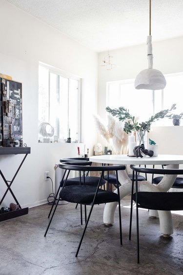 Black and white small dining room